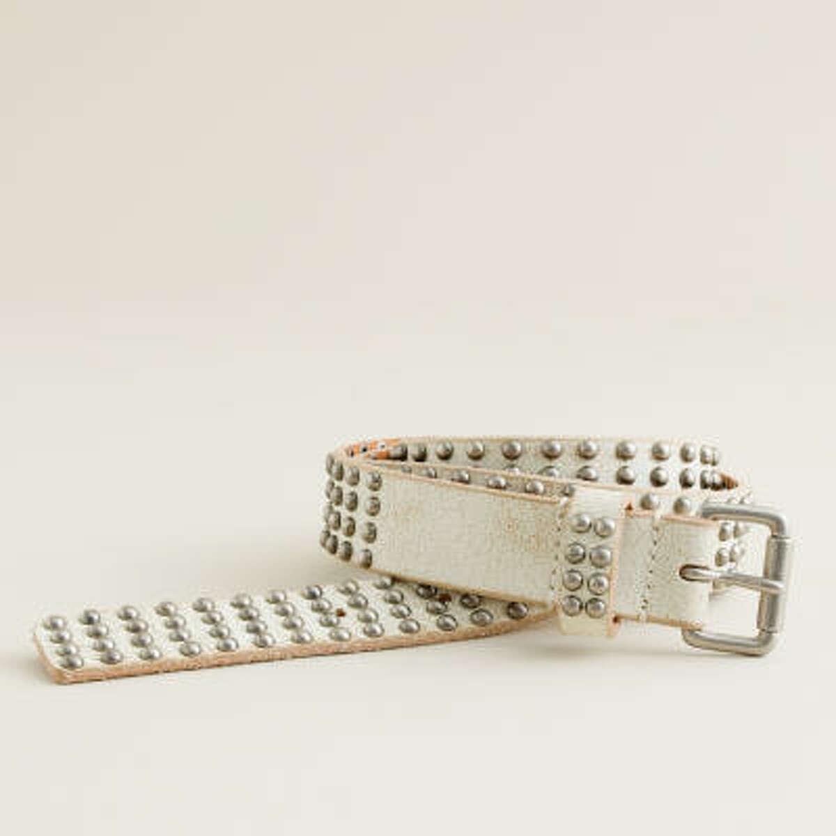 Studded belt, $68, from J. Crew stores or www.jcrew.com.