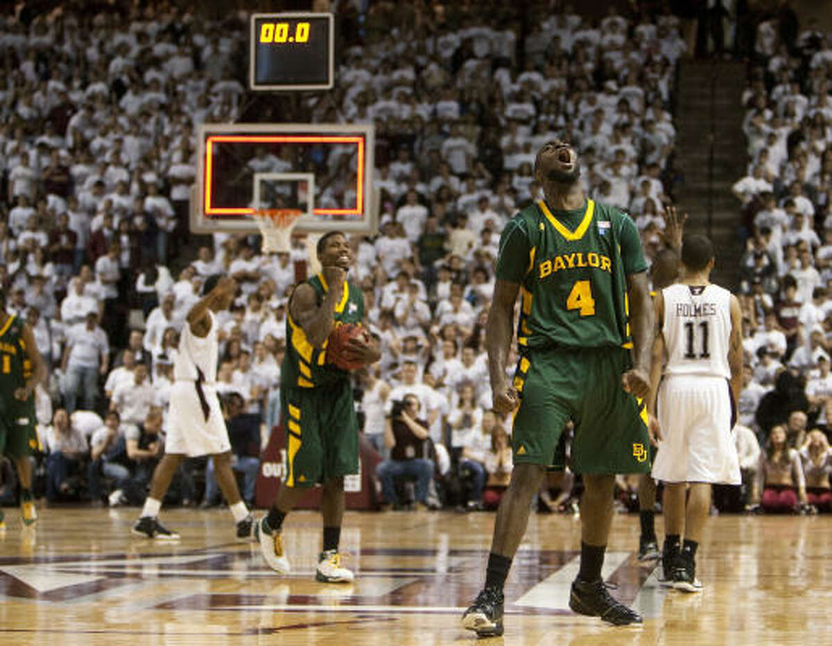 Baylor 76, Texas A&M 74 Baylor's Quincy Acy celebrates after defeating Texas A&M.