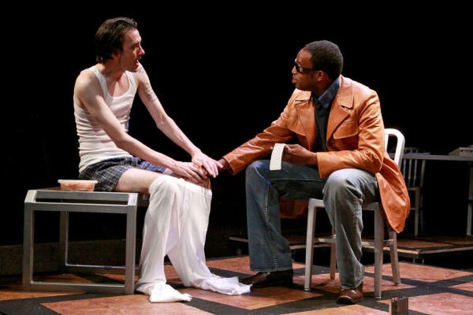 Jon Egging, left, and Jovan Jackson star in Stages Repertory Theatre's production of Eric Coble's Southern Rapture. Photo: Bill Olive :, For The Chronicle
