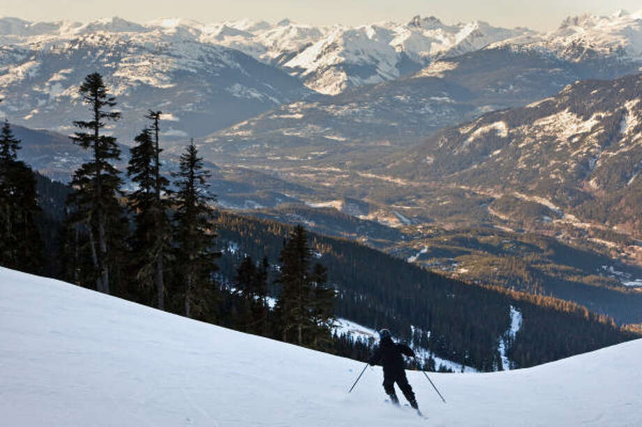A recreational skier tests himself on Whistler Mountain before the Olympians take over. Photo: Smiley N. Pool, Houston Chronicle