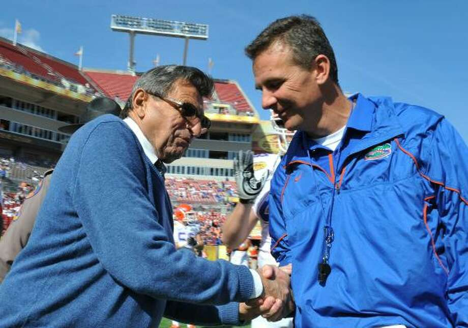 Outback Bowl Jan. 1: Florida 37, Penn State 24Urban Meyer closed out a highly successful run at Florida by leading the Gators back from a second-half deficit to beat Joe Paterno and Penn State. Photo: Al Messerschmidt, Getty Images