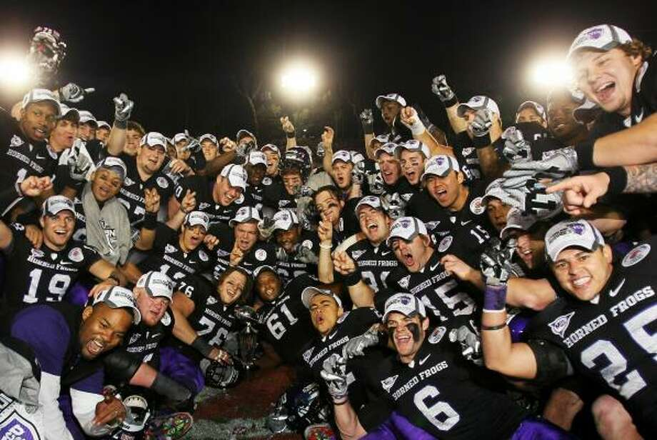 Jan. 1: TCU 21, Wisconsin 19The TCU Horned Frogs were on top of the college football world after beating Wisconsin in their first appearance in the Rose Bowl. TCU finished the season 13-0. Photo: Jeff Gross, Getty Images
