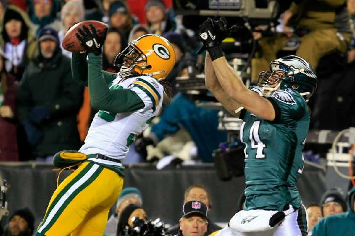 Jan. 9: Packers 21, Eagles 16 Packers defender Tramon Williams intercepts the pass intended for Riley Cooper of the Eagles to end the game.