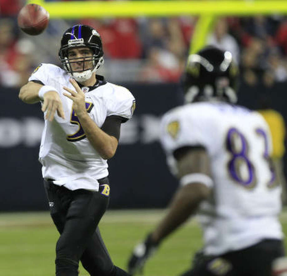 Ravens quarterback Joe Flacco, in his third season, has won four playoff games with all wins coming on the road. Photo: Brett Coomer, Chronicle