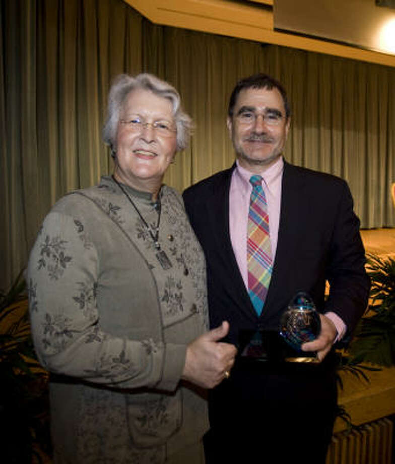 Phyllis Frye, left, and history professor James Rosenheim were honored by Texas A&M University recently. The Phyllis Frye Advocacy Award was presented to Rosenheim. Photo: GABRIEL CHMIELEWSKI