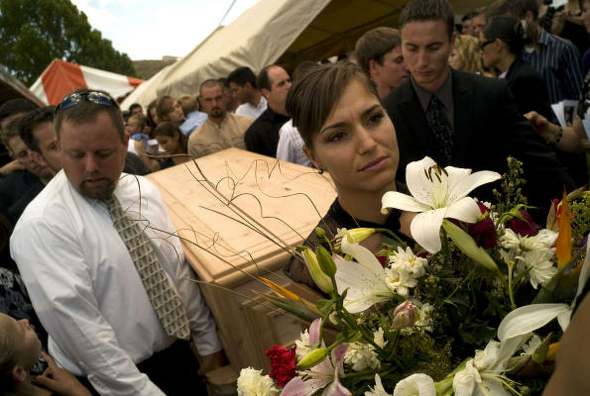 "Benjamin ""Benji"" LeBaron's family carries his casket from his funeral Thursday in Mexico. The breakaway Mormon sect has defied local gangs."