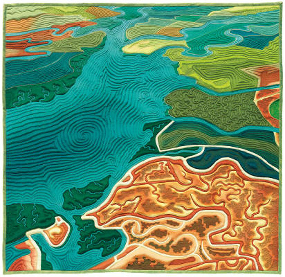 """South Bay,by Linda Gass, is a quilted painting on silk from the exhibit Quilts From the Book """"500 Art Quilts"""" presented by the International Quilt Festival. Photo:  Don Tuttle"""