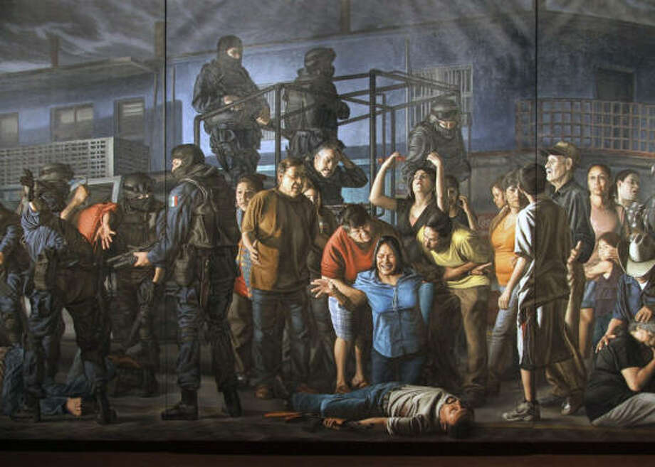 Rigoberto Gonzalez's series Baroque on the Border paints scenes from the current Mexican drug war on the scale of European masters like Caravaggio and de Ribera. Photo: Handout Photos