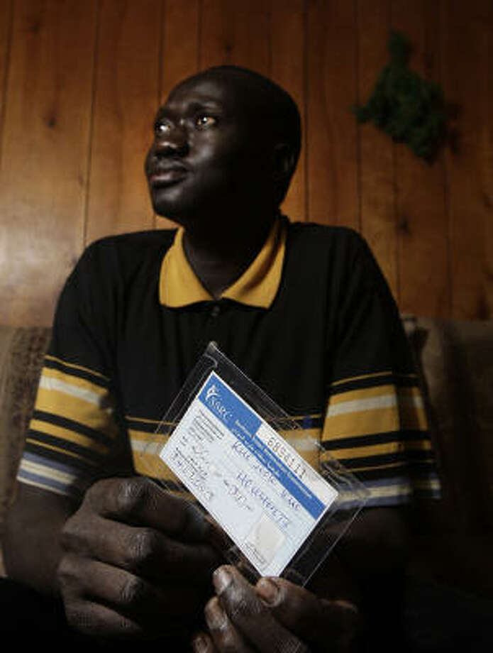 Kuc Jook Kuc is a U.S. citizen, but is excited about going to Dallas and casting a vote in the Sudanese referendum. Photo: James Nielsen, Chronicle