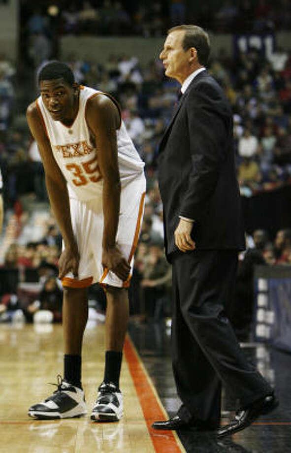 Kevin Durant has not decided if he will return to Rick Barnes' program next season. Photo: James Nielsen, Houston Chronicle