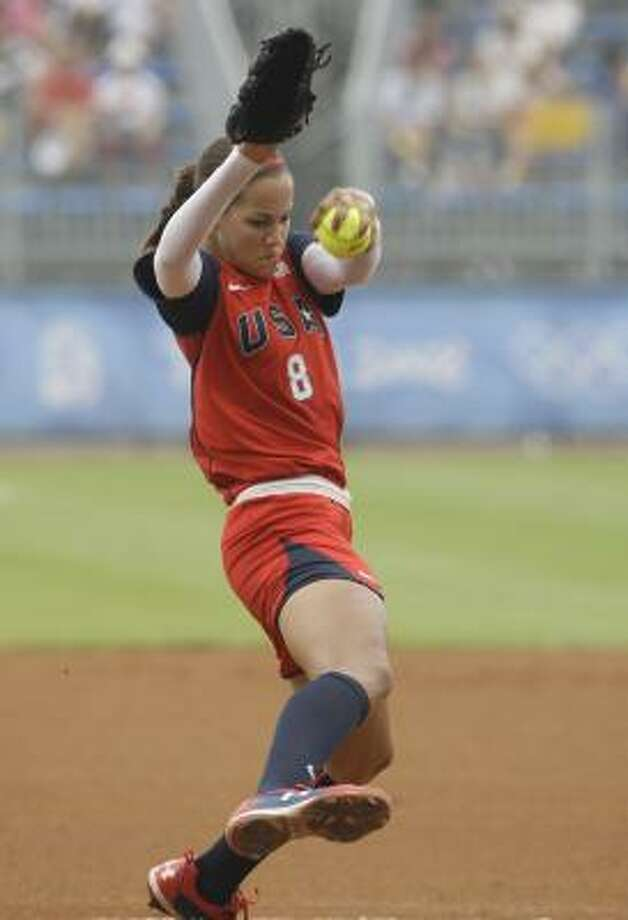 U.S. starting pitcher Cat Osterman throws against Australia at the Beijing 2008 Olympics on Wednesday. Osterman pitched a no-hitter and the U.S. won 3-0. Photo: Elaine Thompson, AP