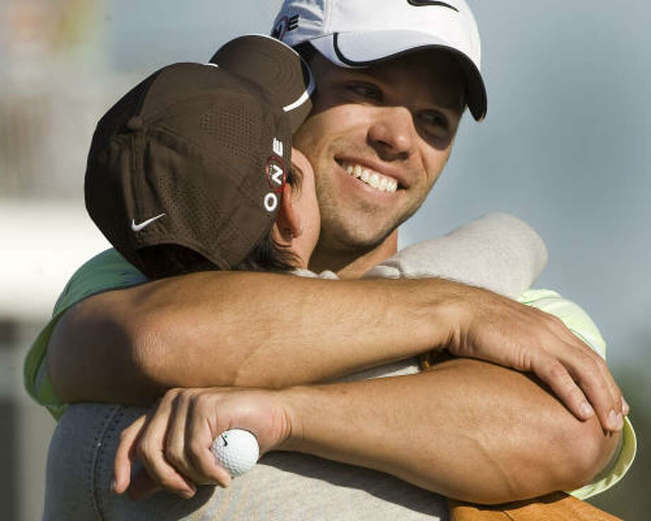 Paul Casey's wife, Jocelyn, was on hand to share the joy of his Shell Houston Open victory in April. Photo: Brett Coomer, Houston Chronicle