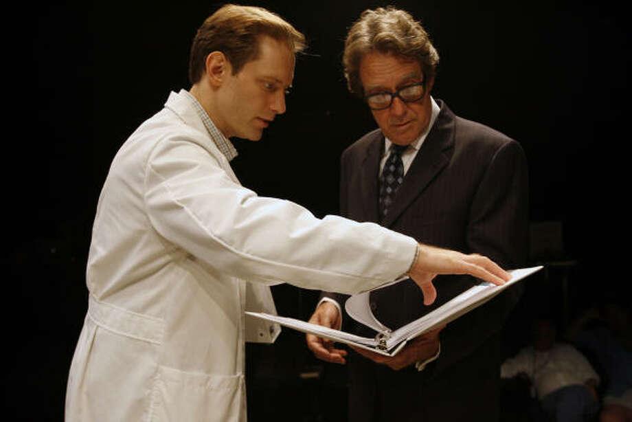 Dylan Chalfy, left, stars as William Shumway and Larry Pine stars as Robert Brock in Secret Order. Photo: Eric Kayne, Houston Chronicle