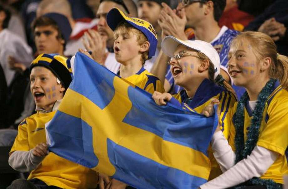 Sweden fans cheer for their team against the U.S. men at Carson, Calif. U.S. goalkeeper Brad Guzan made two leaning saves in the 33rd minute to keep Sweden scoreless Photo: Mark Avery, AP