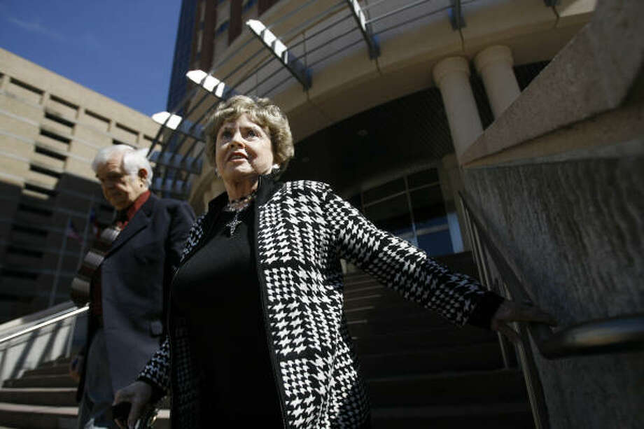 Outside the courthouse, Shirley Nagel called the jury's decision vindication for her schizophrenic son. Harris County plans to appeal the decision. Photo: Mayra Beltran, Chronicle