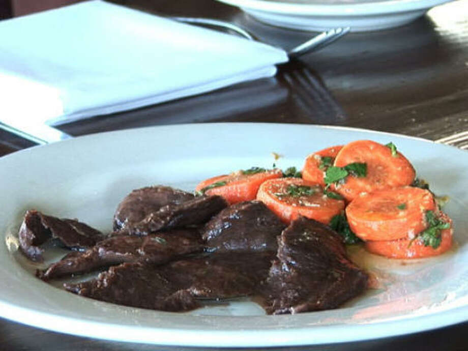Beef Heart with Carrot-Coriander Salad.