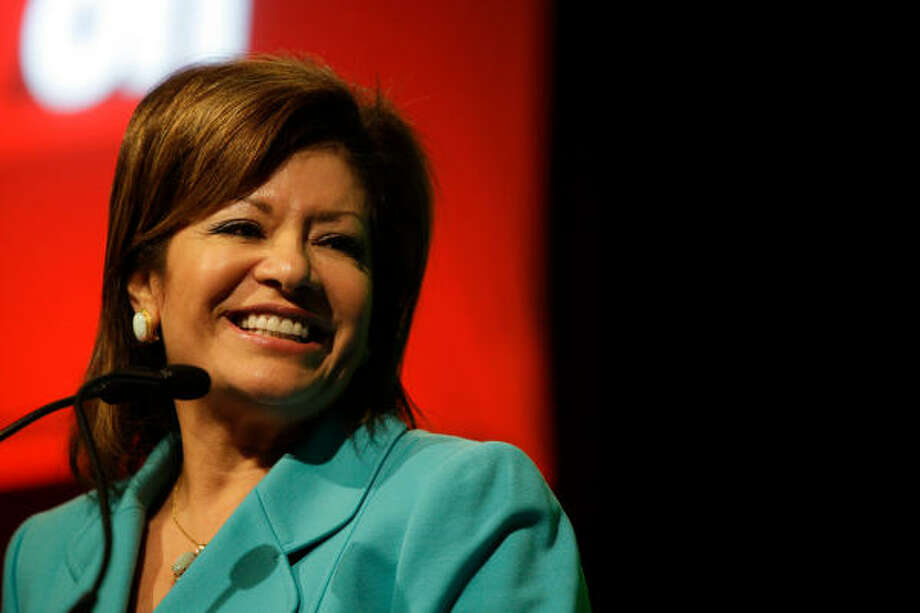 Chairman Irma Diaz-Gonzalez speaks about the Houston Hispanic Chamber of Commerce. Photo: Melissa Phillip :, Chronicle