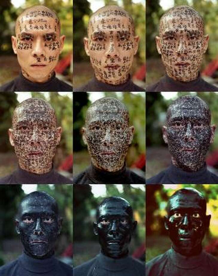 Zhang Huan's Family Tree, 2001, nine chromogenic prints. Photo: Museum Of Fine Arts