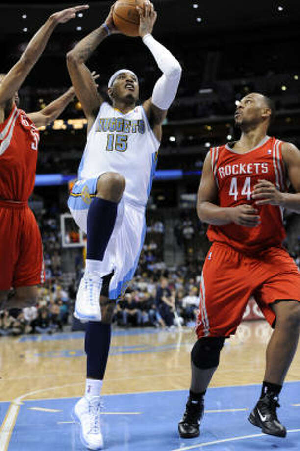 Denver Nuggets forward Carmelo Anthony dropped 50 points on the Rockets on Feb. 7. The All-Star was 16-of-24 from the field and made 16 of 18 free throws. Photo: Jack Dempsey, AP