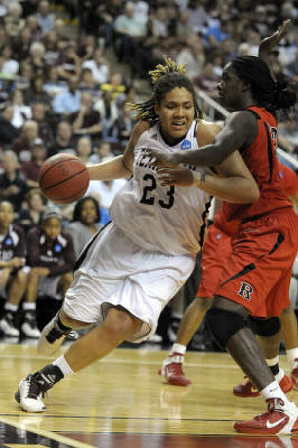 Texas A&M's Danielle Adams scored 28 points to lead the Aggies to the Sweet 16. Photo: Greg Pearson, AP