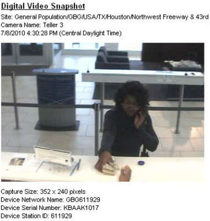 The FBI says this woman robbed a Wachovia Bank on U.S. 290 Photo: Surveillance Photo
