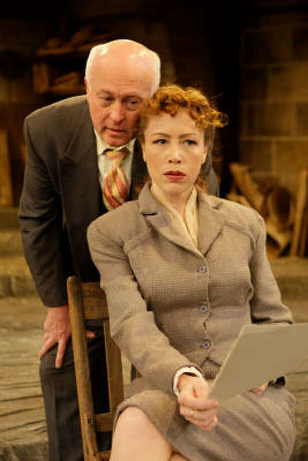 James Belcher stars as Pablo Picasso and Carolyn Johnson as Miss Fischer in Stages Repertory Theatre's production of A Picasso. Photo: Melissa Phillip :, Chronicle
