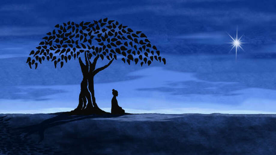 The Buddha combines animation and traditional documentary storytelling. This animation image from the film depicts the Buddha gaining enlightenment while sitting under a fig tree. Photo: ASTERISK ANIMATION