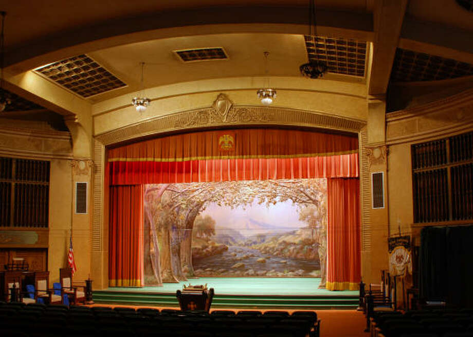 The upstairs theater at Galveston's Scottish Rite Cathedral boats original canvas backdrops for morality plays. Photo: Galveston Historical Foundation