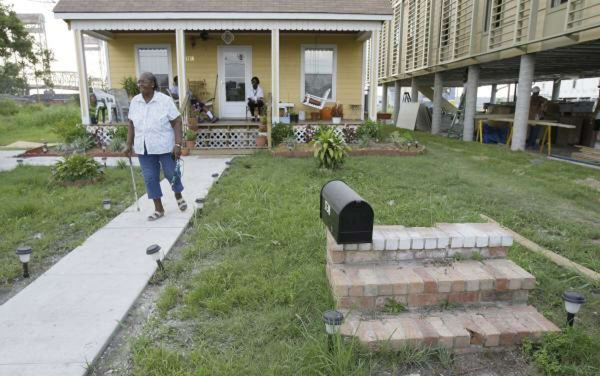 Gertrude LaBlanc lived in a FEMA trailer for a year and a half after Hurricane Katrina while her home in the Lower Ninth Ward was rebuilt. The front steps are all that's left of her old home.