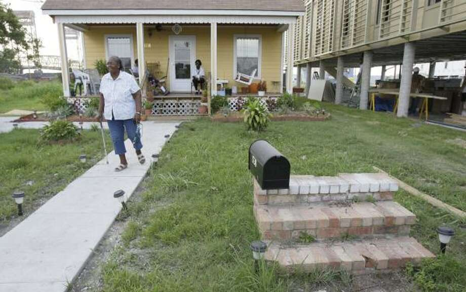 Gertrude LaBlanc lived in a FEMA trailer for a year and a half after Hurricane Katrina while her home in the Lower Ninth Ward was rebuilt. The front steps are all that's left of her old home. Photo: MELISSA PHILLIP, CHRONICLE