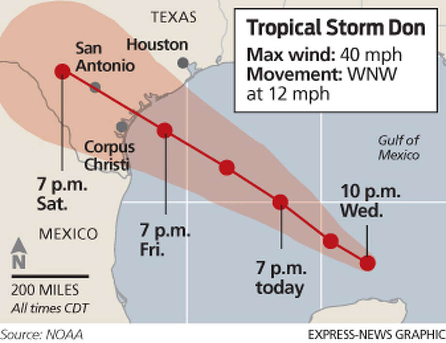 Tropical Storm Don projected Photo: Express-News Graphic