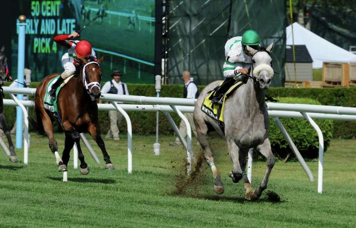 Winter Memories with jockey Jose Lezcano demolished a field of 6 turf horses to win the Lake George Stakes this afternoon July 27, 2011 at Saratoga Race Course in Saratoga Springs, N.Y. (Skip Dickstein / Times Union)