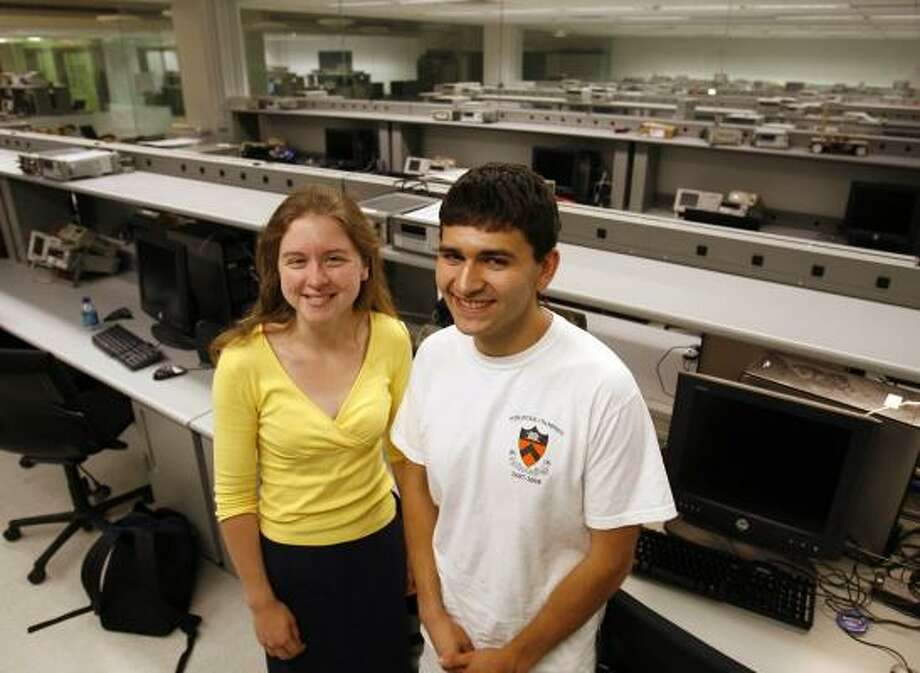 Princeton students Shannon Hughes and Eugene Brevdo devised the forgery-detection software. Photo: DAVID GARD, NEWHOUSE NEWS SERVICE