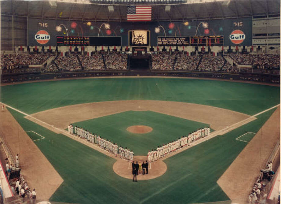 It was a magic moment when the teams lined up along the baselines for the first MLB All-Star Game played in Texas, at the Astrodome in 1968. Photo: Houston Astros