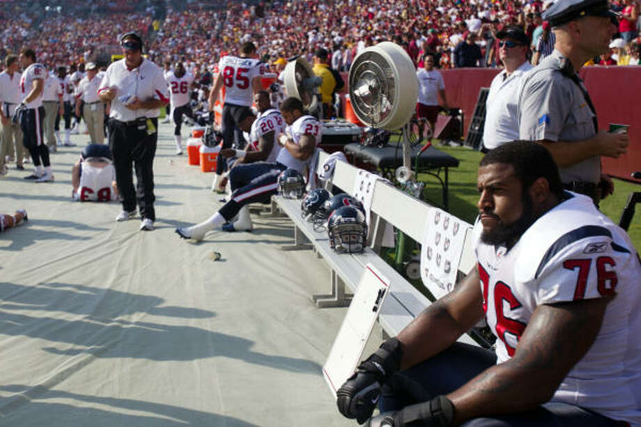 Texans offensive tackle Duane Brown will have to sit out games against the Cowboys, Raiders, Giants and Chiefs for violating the NFL's drug policy. Photo: Smiley N. Pool, Chronicle