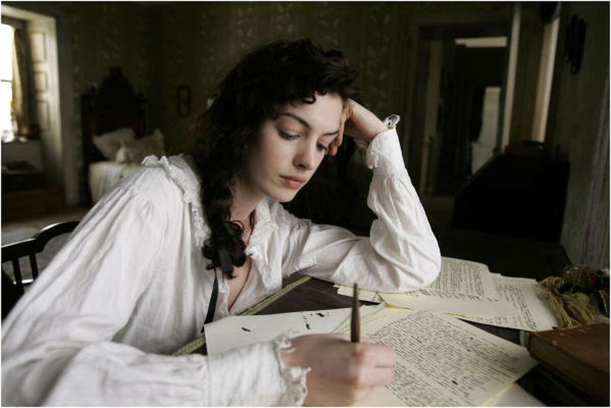 Anne Hathaway is Jane Austen in Becoming Jane.