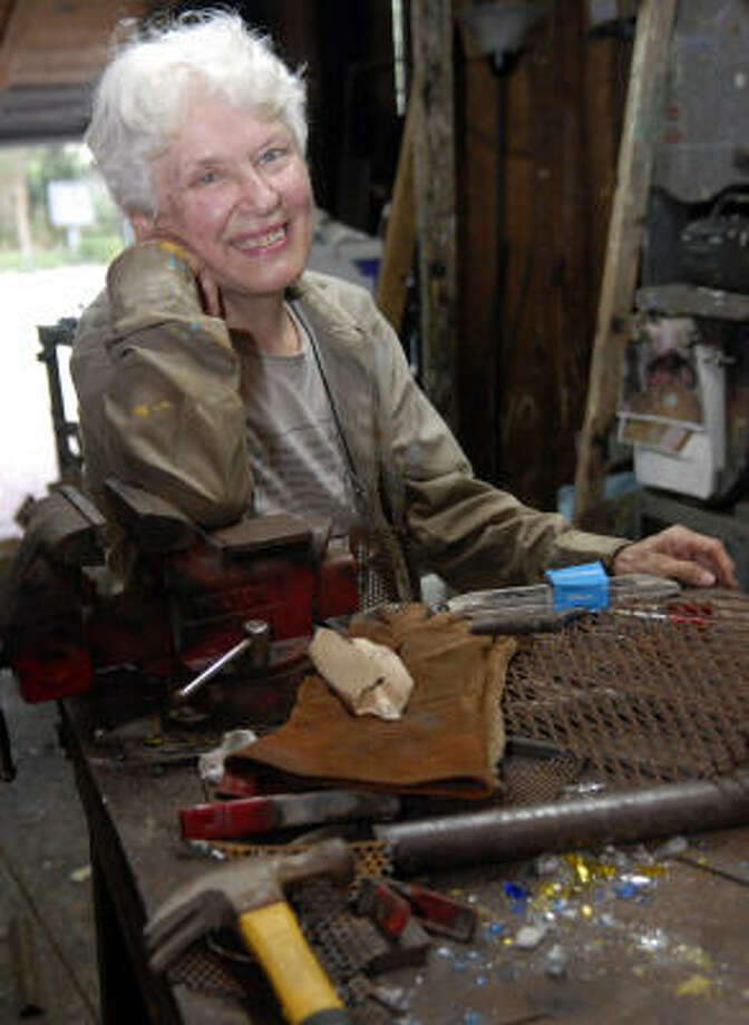 Montrose-based sculptor Gertrude Barnstone creates glass and steel sculptures in the garage at the home she has lived in for more than 30 years. Photo: Kim Christensen, For The Chronicle