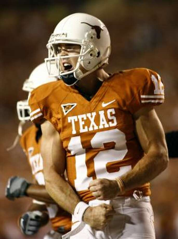 Texas quarterback Colt McCoy will seek information from the NFL to determine where he could be drafted. Photo: Erich Schlegel, AP