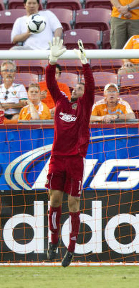 Tally Hall will most likely to take over for the departed Pat Onstad as the starting goalkeeper. Photo: Brett Coomer, Chronicle