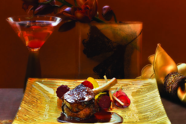 "Roasted Venison chop at Alex Stratta restaurant at Wynn Las Vegas, featured on ""Top Chef."""