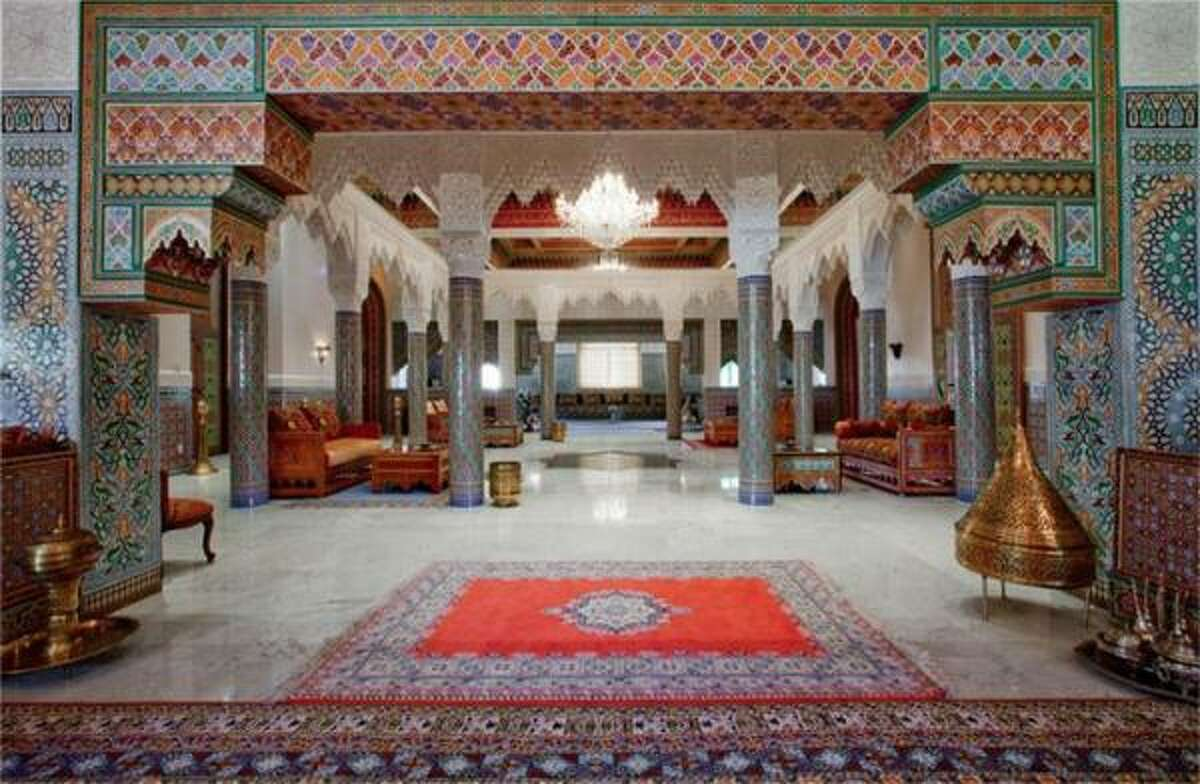 The remarkable Moroccan-style interior of the home. Located in the Rivercrest Estates subdivision of Harris County, this estate was designed by the international Moroccan architectural firm Arabesque Moresque, built by the Black Stone Builder Inc.