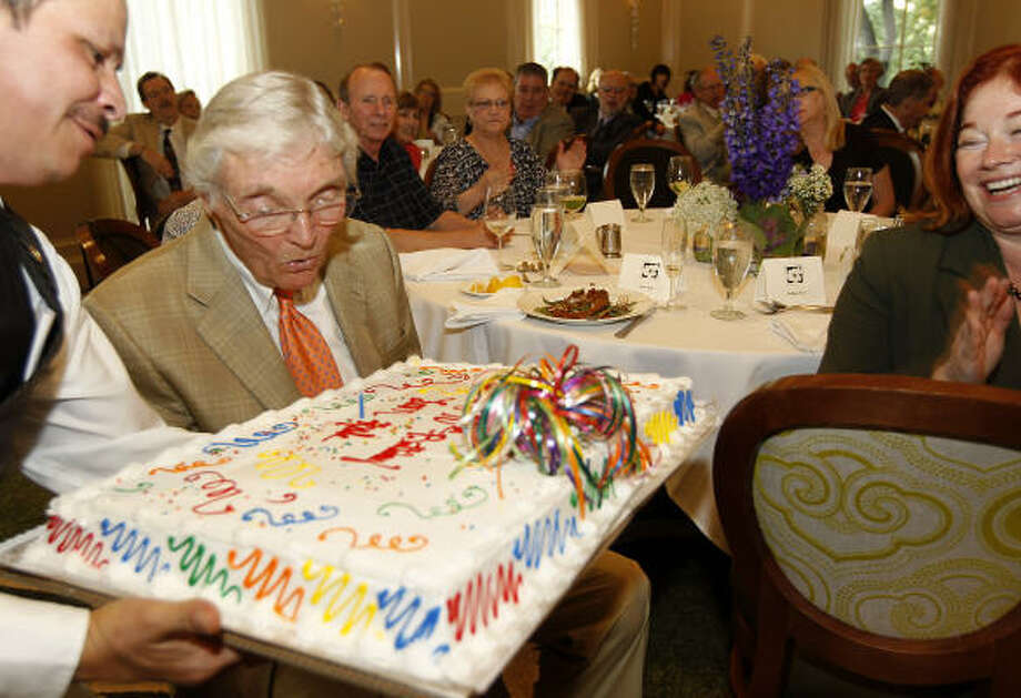 Leon Hale turned 90 on May 30. He celebrated several parties, including a luncheon Tuesday at Brennan's. Photo: Karen Warren, Houston Chronicle
