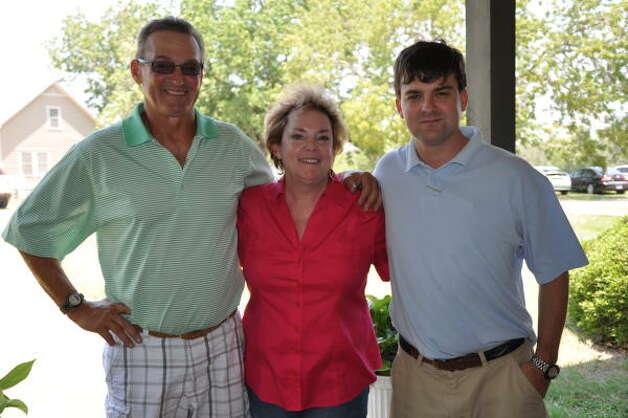 Leon Hale's son, daughter and grandson: Mark Hale, Becky Fisher and Daniel Hale at his birthday lunch in Winedale. Photo: Melissa Ward Aguilar, Chronicle