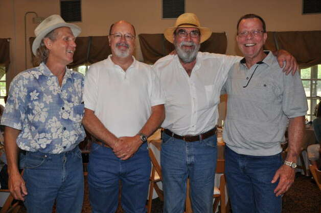 Leon Hale's fishing buddies: Fred Muegge, from left, Rusty Mitchum, Donley Watt and Glenn Bass. Photo: Melissa Ward Aguilar, Chronicle