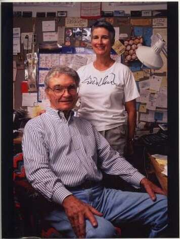 Leon Hale and his wife, Gabrielle Hale, in his home office in 1998. He kept track of his columns on the big wall calendar.