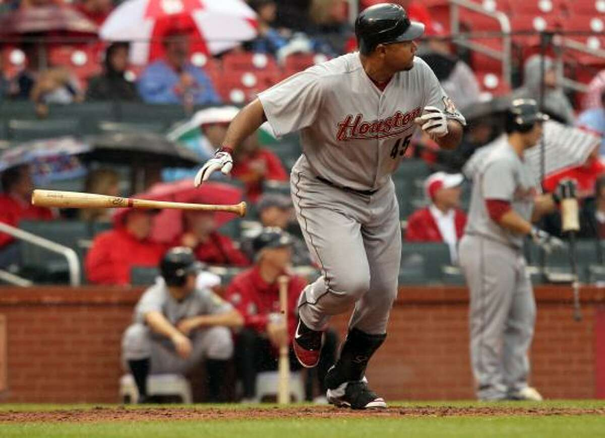 May 19: Cardinals 4, Astros 2 Carlos Lee singles to left field in the ninth inning of Thursday's series finale against the Cardinals at Busch Stadium in St. Louis. Lee had the Astros' only RBI.