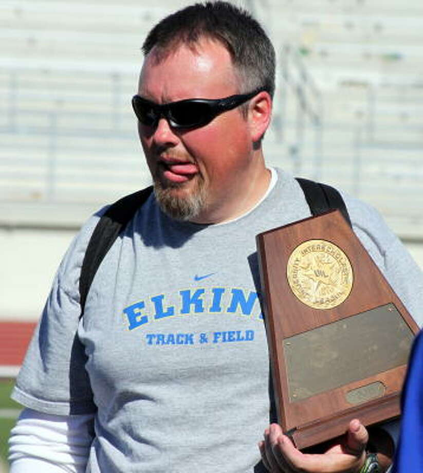 Now, this is one happy coach. Photo: Gerald James, For The Chronicle