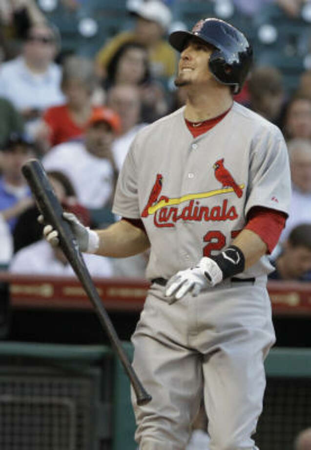 Cardinals' David Freese watches a ball go foul for a strike in the first inning. Photo: Pat Sullivan, AP