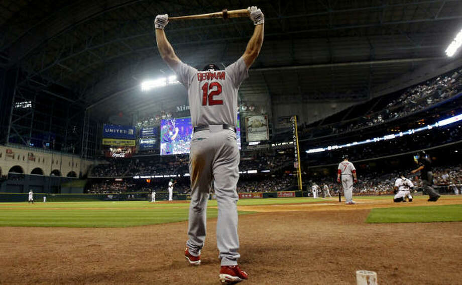 St. Louis' Lance Berkman stretches before going up to bat. Photo: Cody Duty, Chronicle