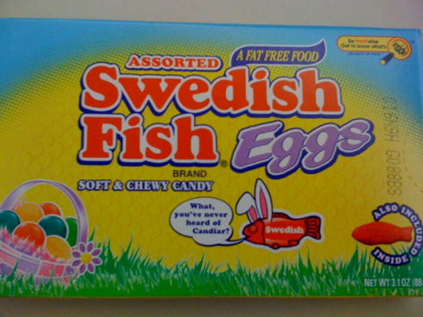 2 treat-sized bags of Swedish Fish Eggs = 100 calories, 0 grams of fat